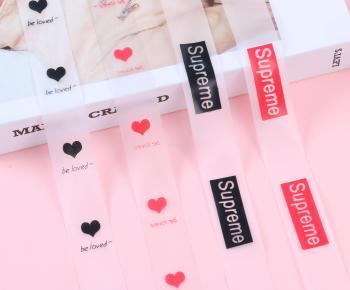 微彈力字母印花透明隱形肩帶 衣服褲子側邊彩條1.5CM裝飾織帶輔料