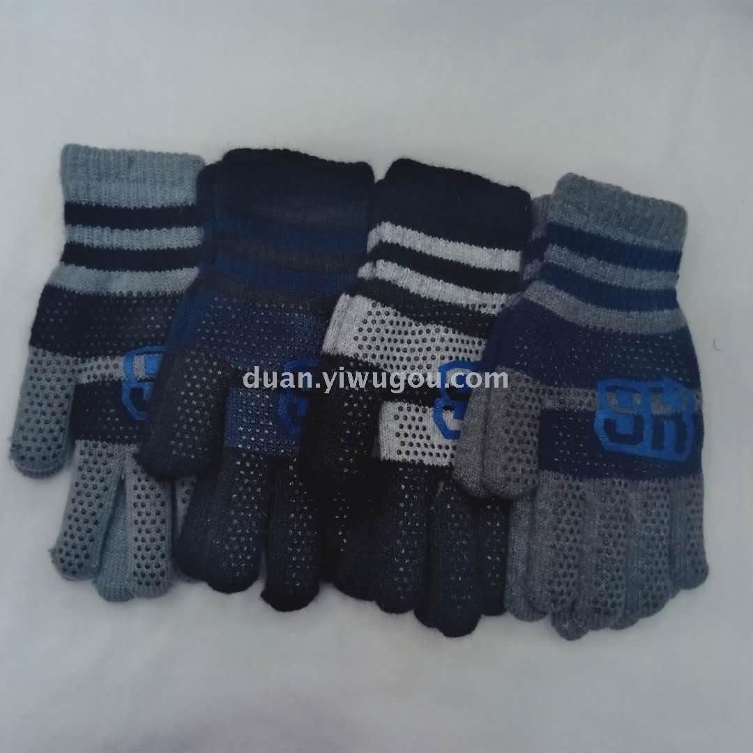 男士颗粒防滑针织双层手套金豆手套义乌国际商贸城四区