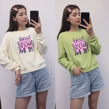 女装 秋季新款韩版针织棉长袖卫衣后背不规则上衣