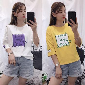 秋季新款女装 韩版字母印花中袖棉T恤女装 宽松上衣