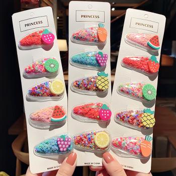 楊鑫 韓國新款彩色流沙透明夾子兒童水果發夾PVC邊夾寶寶BB頭飾