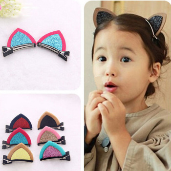 厂家直销 韩版热卖发饰可爱女孩头饰布艺猫耳朵儿童发夹饰品货源