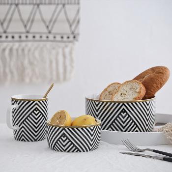 舊時光系列 北歐創意三件套陶瓷早餐碗沙拉水果碗湯碗 水杯牛奶杯