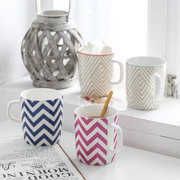 北歐INS風系列 創意陶瓷馬克杯 學生情侶辦公室早餐牛奶咖啡杯子