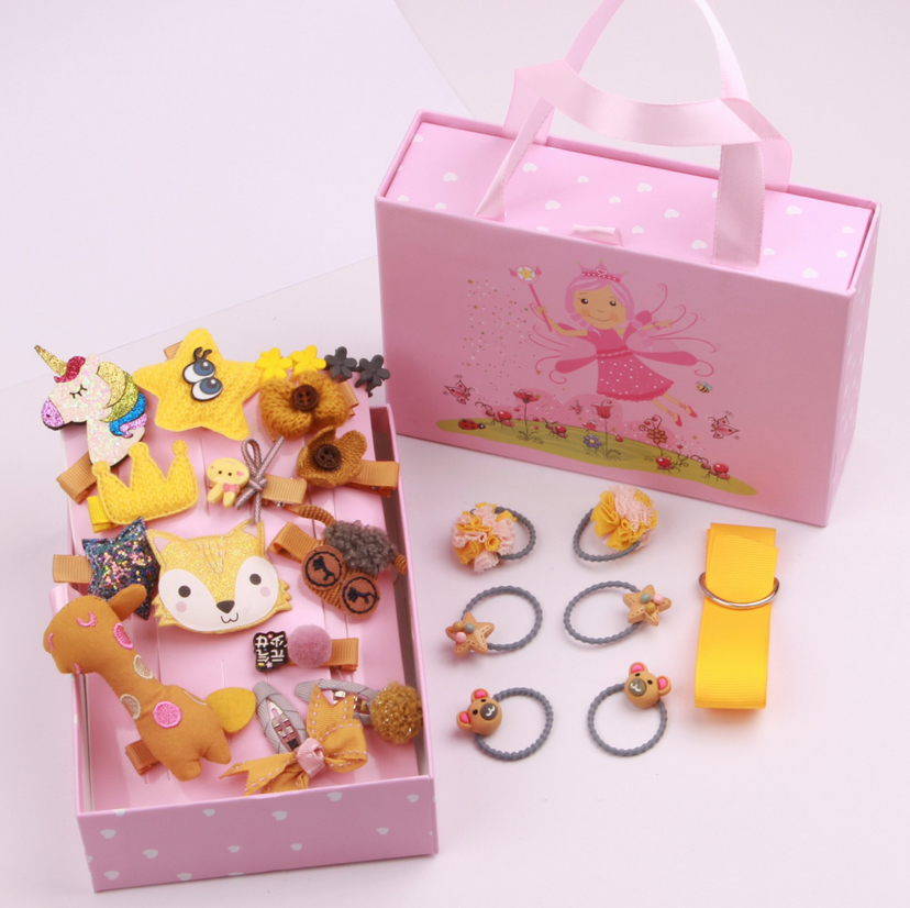 25 pieces of new boxed hair clip children's hairpin set baby headdress wholesale