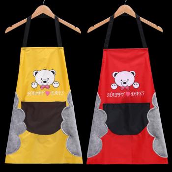 厂家直销韩版卡通小熊围裙套装厨房家务防污长袖男女围裙 批发