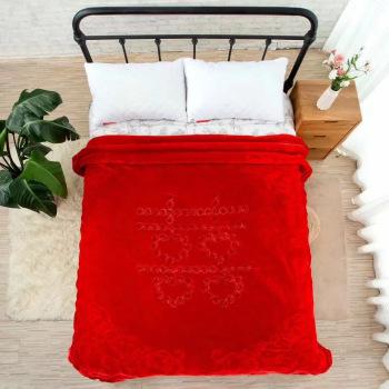 金繡花拉舍爾婚慶超柔毛毯