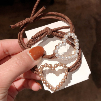 春季新款愛心圓圈珍珠發繩韓國東大門網紅簡約成人扎發丸子頭繩