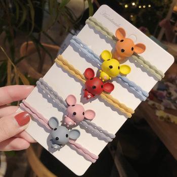 韓國ins網紅橡皮筋頭飾發繩韓版卡通發圈可愛老鼠頭繩女扎發發繩
