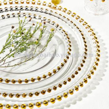 歐式玻璃珠點鍍金西餐盤牛排盤沙拉盤西餐宴會花式墊盤樣板間擺盤