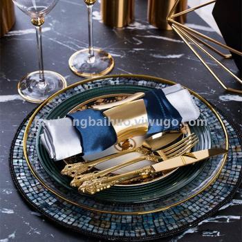 歐式鍍金西餐盤牛排盤沙拉盤西餐宴會花式墊盤樣板間擺盤