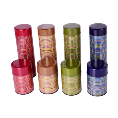 亚马逊缟和纹茶罐密封性好日本进口零食铁罐批发 药品食品储物罐