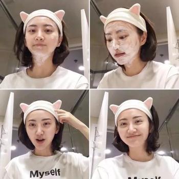 景甜同款洗臉發帶發箍女貓耳朵束發帶韓國可愛頭飾頭巾敷面膜簡約
