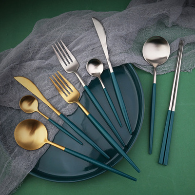 L304 stainless steel West cutlery Portuguese set matte enrolled steak cutlery Nordic emerald gold