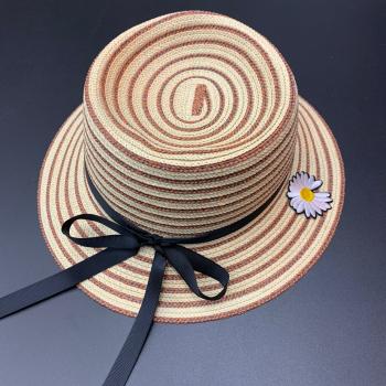 新款小仙女草帽 小雏菊女神草帽 蝴蝶结帽子 沙滩帽 遮阳帽防晒帽