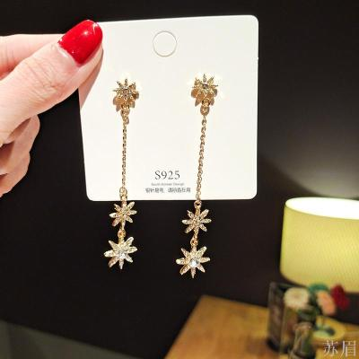 Silver needle Korean version of long flower Five-star Female fashion temperament tassel long star stud earrings