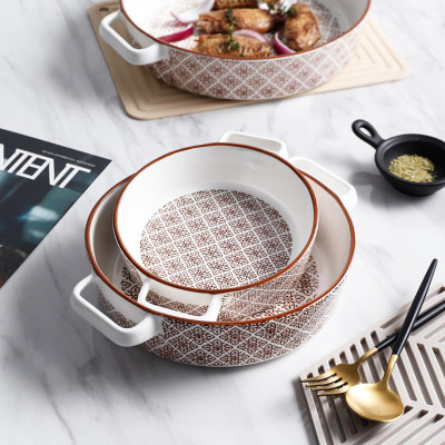 Ceramic bowl tray set with web celebrity double-ear hand painted color baking tray set with rice oven oven special tray