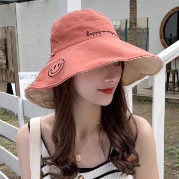 定制款 两面戴大沿渔夫帽 防晒帽 遮阳帽 小仙女必备防紫外线帽子