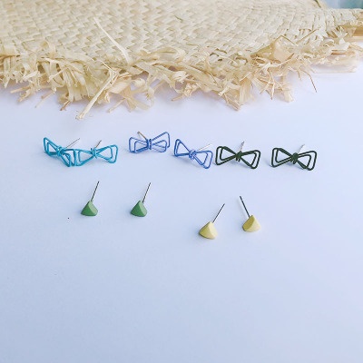 New triangle butterfly clip color small stud Silver needle eagle fashion hot style female wholesale