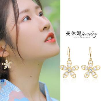 時尚閃亮五瓣花朵耳勾耳環韓國氣質人造人工鋯石精美五葉花瓣耳飾