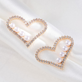 精美甜美愛心桃心耳環人工珍珠滴釉耳釘鑲嵌人造鋯石心形心型耳飾