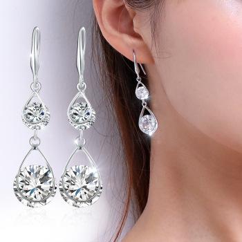 耳坠女气质韩国简约百搭耳环简约纯银长款个性防过敏水晶耳钉超闪