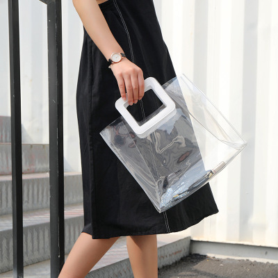 Bags transparent PLASTIC packaging bags transparent PVC handbag activities with hand gift bags can be a substitute bag