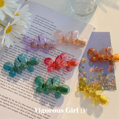 Instagram Candy color Transparent Butterfly Hairpin Retro Girls resin Bangs Clip Sweet Web celebrity Hair Accessories