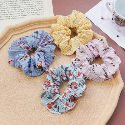 Korean version of simple small floral Hair circle creative trend pleated Florets Large intestine, art flower hair rope manufacturers direct sale