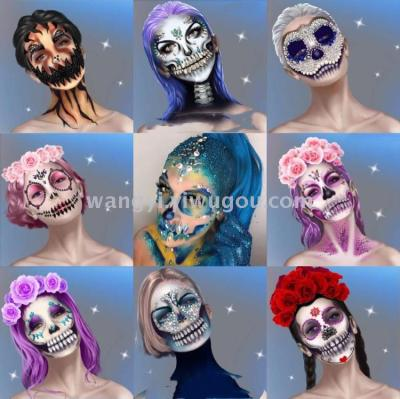 Halloween face drill stage makeup glitter face stickers music Festival face drill party makeup disco drill