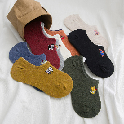 New Cartoon Embroidered Socks Children in Spring and Summer Silicone Invisible Socks Japanese Embroidery Socks Currently Available Wholesale