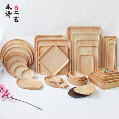Wooden Tray Japanese Style Tableware Solid Wood Plate Wooden Tray Fruit Plate Hotel Barbecue Plate Wooden Tray Wooden Dish Plate Wood Pallet