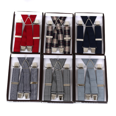 Adults' X shape 4 clips elastic adjustable suspenders