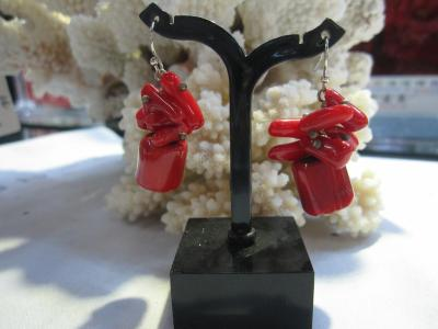 Coral earring red coral earring Chinese red earring seedling earring caterpillar earring