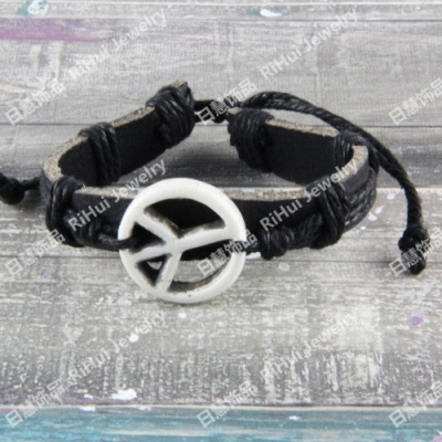 Festival cowhide resin bracelet punk versatile design jewelry world peace logo S0407