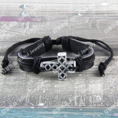 Cheap wholesale beef bone cowhide bracelet simple retro home jewelry gothic mesh cross S0234