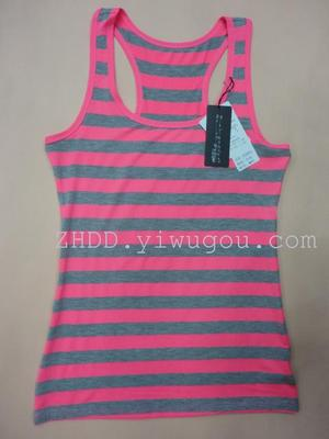 Modal cotton horizontal stripe versatile vest for women in solid I movement with wide shoulder and back center base