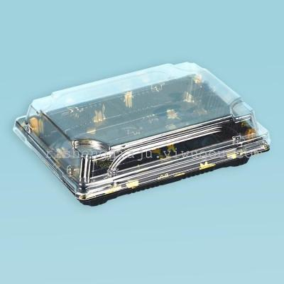 Upscale Japanese-style one-off printing transparent sushi box cake pastry take-away packaging boxes RS-1309