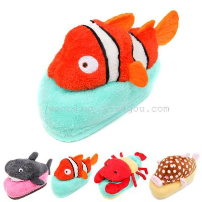 Winter shoes new cartoon animal shark clown fish character cute girls cotton slippers House shoes