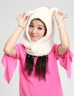 Plush rabbit-ear hat, warm protective toe cap ear protectors to protect the face Cap