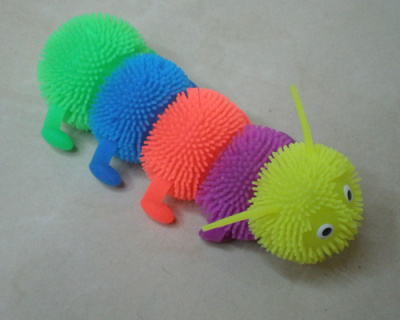 The five section soft wool caterpillar medium TPR light color toy centipede