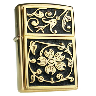 Genuine authentic ZIPPO lighter copper post Cap Black Gold Flower rich 20903 Shoppe Edition limited