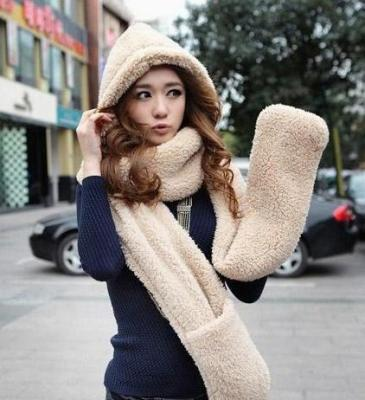 Han edition qiu dong super of three-piece wool scarf warm scarf hat gloves