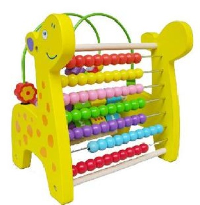 Children's cognitive giraffe wooden puzzle toy beads beads around a multifunctional calculation of the abacus math