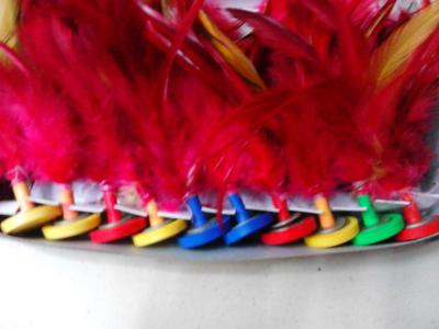 Colored cock feathers at the end of Shuttlecocks/splines/shuttlecock