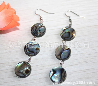 [YiBei Coral] Natural abalone shell earrings wafer anti allergy ear hook