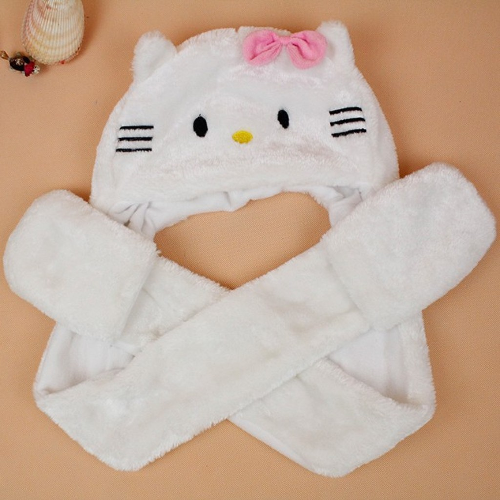 df455efe4 Women hats winter animal hats Hello Kitty Cat Hat around wallet white