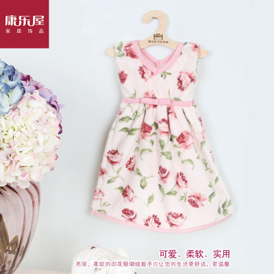 Recreation House brands new coral velvet print dress towel patterned dress roses bath towel