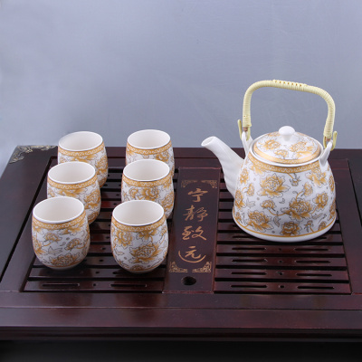 Manufacturers of high-grade ceramic pots supply sets of white gold glaze seven sets of tea sets of gifts