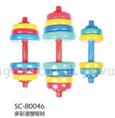 SC-80027 shuangpai colorful plastic dumbbells